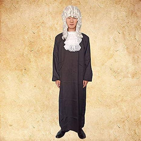 Abogado, juez de justicia medieval europeo, abogado negro, vestido ...