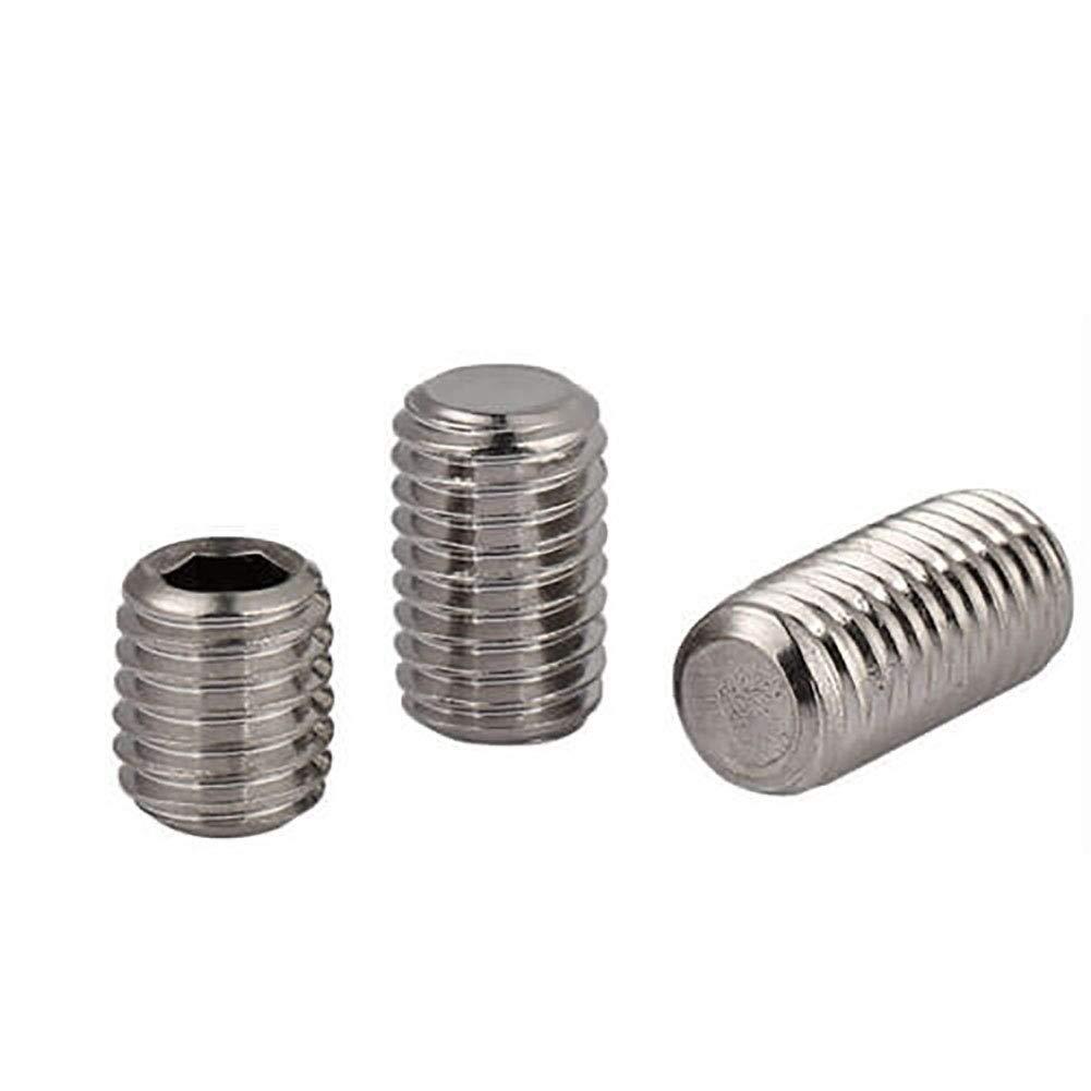 Wkooa Socket Set Screws Flat Point Stainless Steel 304 Grub Screws DIN913 - M8x12 Pack 100 by Wkooa