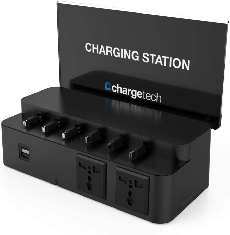 ChargeTech Cell Phone & Laptop Charging Station Dock Hub + AC Outlets | High Speed Universal Cables for All Devices Fully Customizable Cables & Background Art | Model: CS8