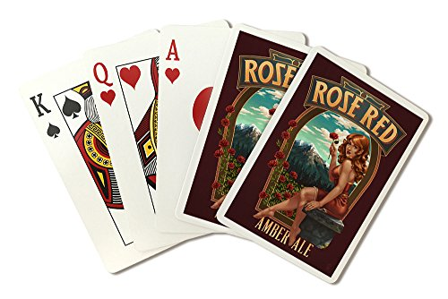 - Rose Red Amber Ale Pinup Girl (Playing Card Deck - 52 Card Poker Size with Jokers)