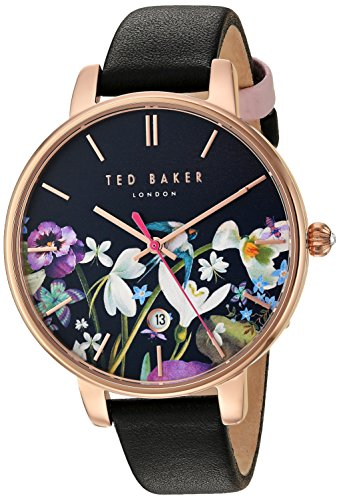 Ted Baker Women's Kate Stainless Steel Japanese-Quartz Watch with Leather Strap, Black, 14 (Model: 10031552) (Baker Dress Ted Print)