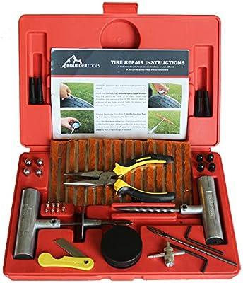 Boulder Tools – Kit de reparación de neumáticos de alta resistencia para coche, camión, RV, Jeep, Todoterreno, moto, tractor, remolque. Kit de ...