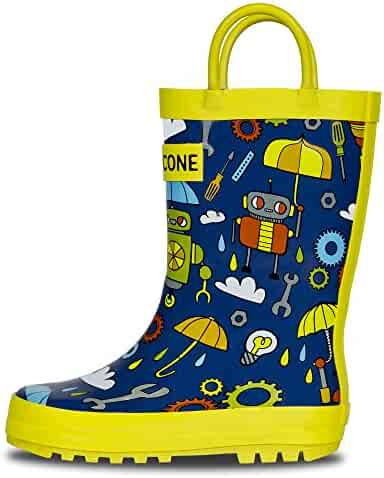 LONECONE Rain Boots Easy-On Handles in Fun Patterns Toddlers Kids, Rainbots, Toddler 6