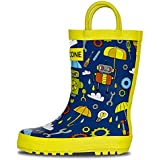 LONECONE Rain Boots with Easy-On Handles in Fun Patterns for Toddlers and Kids, Rainbots, Toddler 6