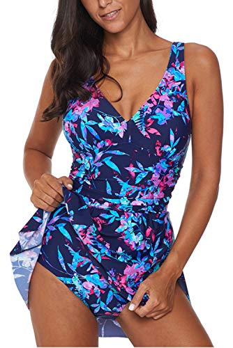 One Piece Dress - momolove Women's One-Piece Swim Dresses Tummy Control Swimsuit Swimwear Cover Up Blue 3XL