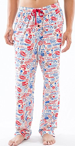 Men's 100% Cotton Knitted Comfort Fit Words Printed Pj Bottoms, Lounge Sleep Wear, Night Wear, Beige, Medium (Printed Pants Lounge Jersey)