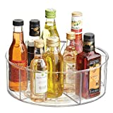 mDesign Deep Lazy Susan Turntable Storage Food Bin Container - Divided Spinning Organizer - 5 Sections - for Kitchen Cabinets, Pantry, Refrigerator, Countertops - Clear