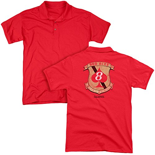 Bsg - Red Aces Badge Adult Polo Shirt