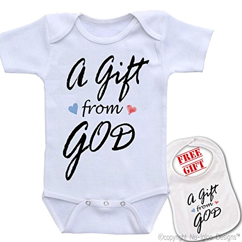 """"""" A Gift From God """"Cute Custom boutique Baby bodysuit onesie & matching bib"""