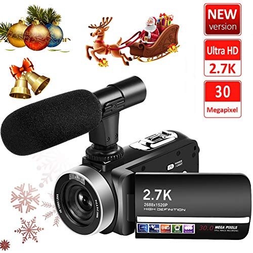 Video Camera Camcorder Vlogging Camera Recorder with Microphone 2.7K 20FPS 30MP 3″ LCD 270 Degrees Rotatable Touch Screen 18X Digital Zoom YouTube Camera with Remote Control