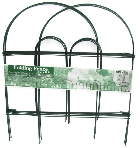 (Glamos 778009 Folding Metal Wire Garden Fence, 18-Inch by 10-Foot, Pack of 12 , Green)