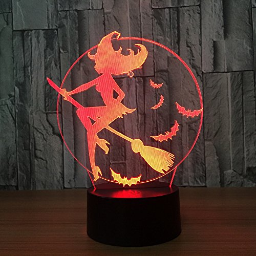 Halloween 3D Led Lamp Acrylic 7 Color Changing 3D Led Nightlight Bedroom Lamp Living Room Lights Decoration Touch USB -
