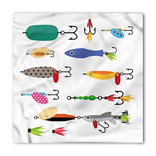 Lunarable Fishing Bandana, Stinger Net and Worms, Unisex Head and Neck Tie