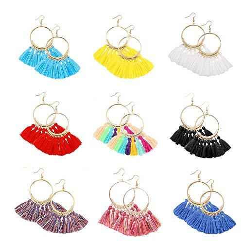 9 Pairs Colorful Hoop Tassel Earrings, Fish Hook Handmade Bohemian Fringe Dangle Earrings for Women Girls - Hanging Disc Earrings