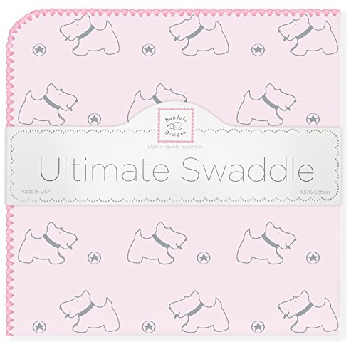 SwaddleDesigns-Ultimate-Swaddle-Blanket-Made-in-USA-Premium-Cotton-Flannel-Gray-Doggie-with-Pink-Trim