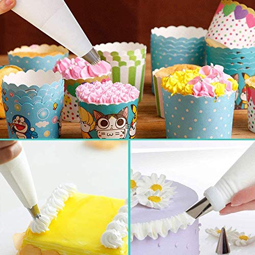 SallyFashion Disposable Pastry Bags, 100 Pcs Plastic Thickened Icing Piping Bags for Cake Dessert Decoration