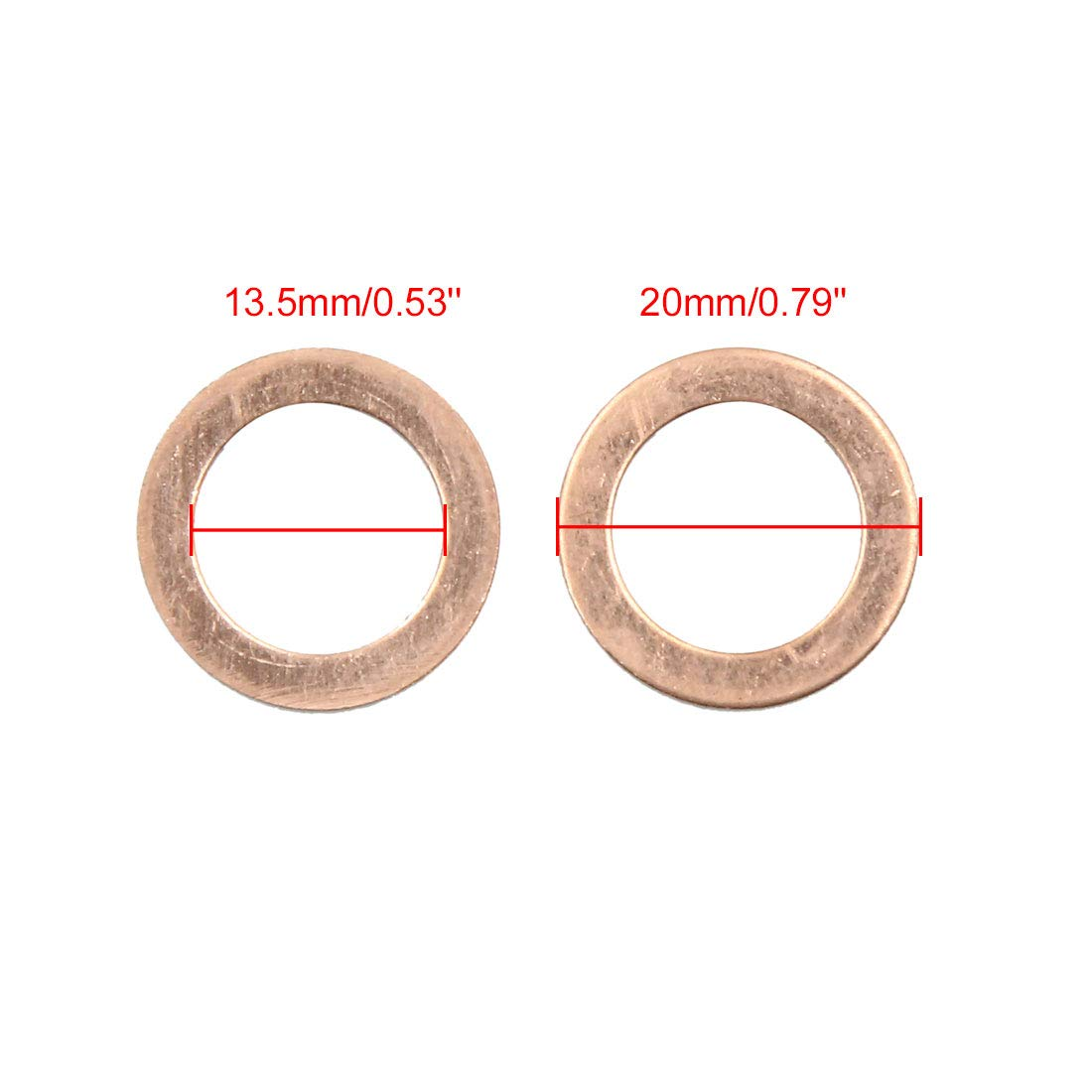 X AUTOHAUX 13.5mm Inner Dia Copper Flat Washers Car Sealing Gaskets Rings 50pcs by X AUTOHAUX (Image #3)
