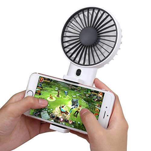 - Bomb Mini Handheld Fan with Cell Phone Holder, Personal Portable Stroller Table Fan with USB Rechargeable Battery Operated Cooling Electric Fan for Office Room Outdoor Household Traveling (White)