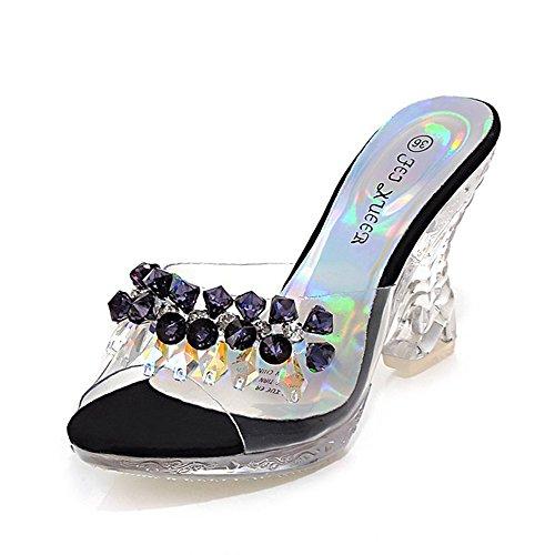 Clear High Heels Platform Crystal Sandals Sparkling Diamo...
