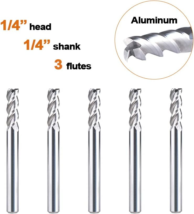 Spiral Up Cut Router Bits 1//4 Cutting Diameter 1//4 Shank CNC Carbide End Mill