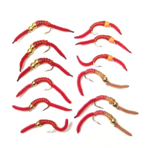 The Fly Fishing Place Trout Fly Assortment - San Juan Worm Power Bead 1 Dozen Wet Nymph Fly Fishing Flies - Hook Size 10-3 Each of 4 - Trout Hooks Fly
