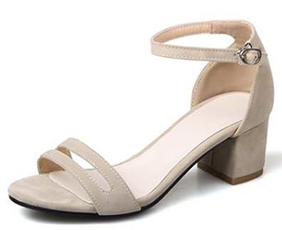 bba0338aead46 IDIFU Women s Elegant Faux Suede Mid Chunky Heels Sandals Ankle Strap (Beige