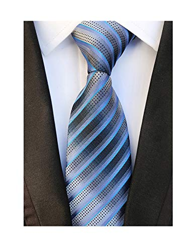 - Men's Blue Grey Striped Neck Tie Accessory Evening Summer Wedding Casual Necktie