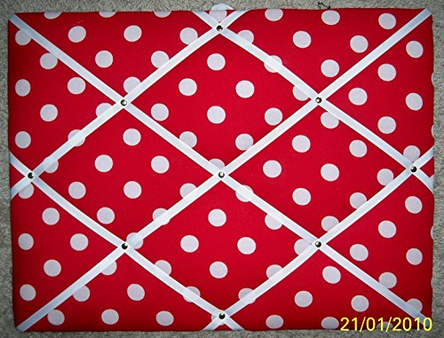 White Dots on Red Fabric French/memo Board - Memo Boards Shop