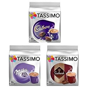 Tassimo T Discs Pods: PACCHETTO DI CIOCCOLATO CALDO - MILKA, CADBURY, SUCHARD 32 CIALDE