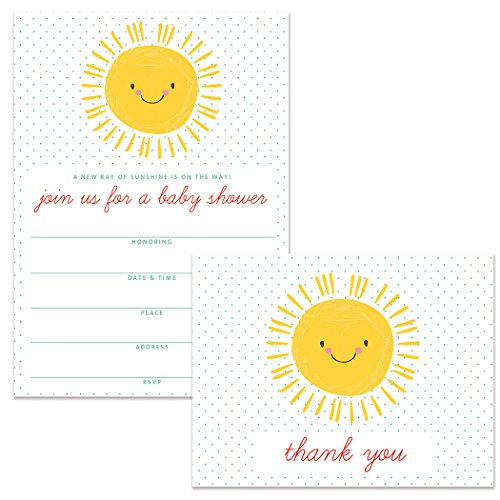 Baby Shower Invitations (50) & Thank You Notes (50) Matching Set with Envelopes, Happy Sunshine Gender Neutral Boy Girl Mommy-To-Be Fill-In Invites & Folded Thank You Cards Great Value ()