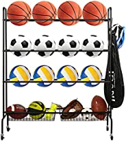 Oududianzi Basketball Rack, Rolling Sports Balls Cart, Balls Organizer for Garage, 3-Layer Balls Organizer wit