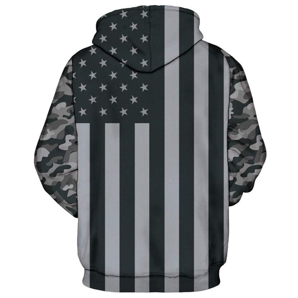 KIWBZ US Flag Print Gray Hoodie Neutral Pullover
