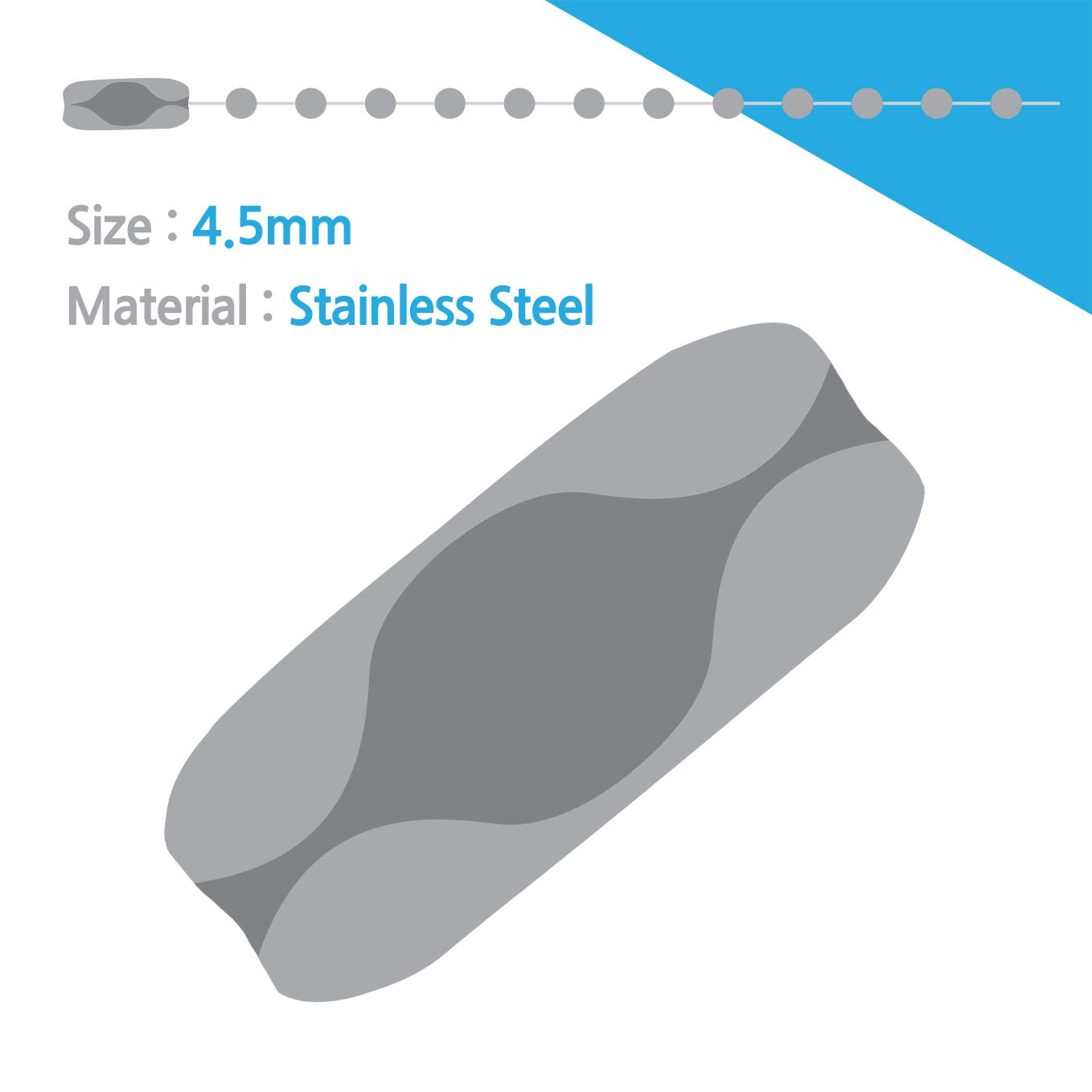 Ball Chain # 10 4.5mm connectors Stainless Steel 50 Count