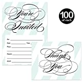 All Occasion Invites ( 100 ) & Matching Thank You Cards ( 100 ) with Envelopes Set Elegant Blue Stripe Write In Invites & Folded Thank You Notes Graduation Birthday Wedding Great Value Combination