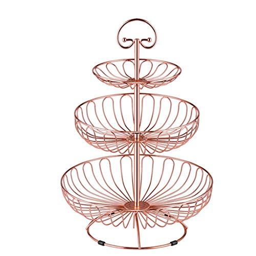 HY Fruit Basket European Multi-layer Function Living Room Simple Snack Three-tier Stainless Steel (Color : Rose gold) (Rose Vegetable Square Bowl)