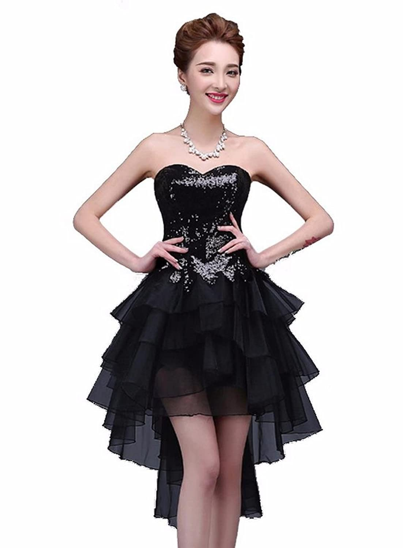 YORFORMALS Women's Strapless Asymmetrical Sequin Cocktail Dress