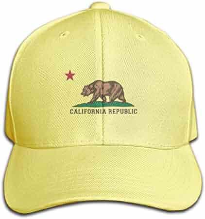 7b01c8d2 STWINW California Republic Flag Bear State Cultural Men's Vintage Twill Baseball  Cap Outdoor Cap Mountain Dad