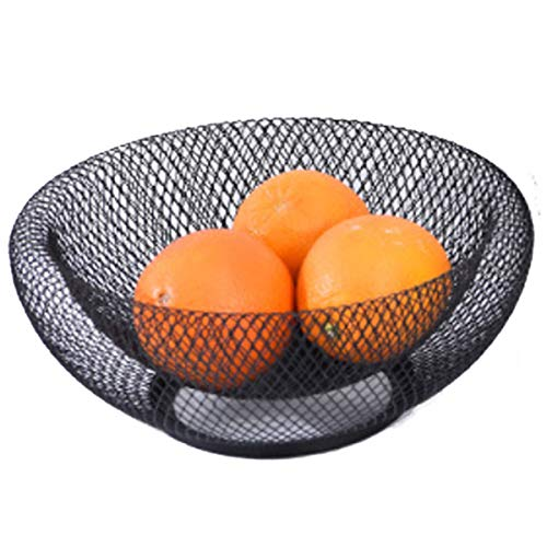 GOLDCHEE Black Metal Double Wall Mesh Fruit Bowl,Creative Countertop Storage Basket, Decorative Table Centerpiece Holder Stand for Fruit Vegetable, Bread, Candy and Other Household Items