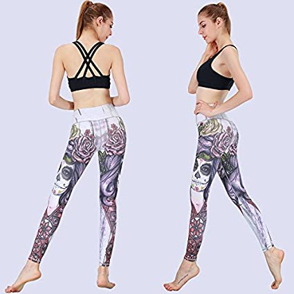 f34bcc8b2b0fa Amazon.com : JIALELE Printed Yoga Pants Female Elastic Tight Movement Thin  Breathable High Waist Dance Net Red Color Fitness Running Fast Dry Pants,  XL, ...