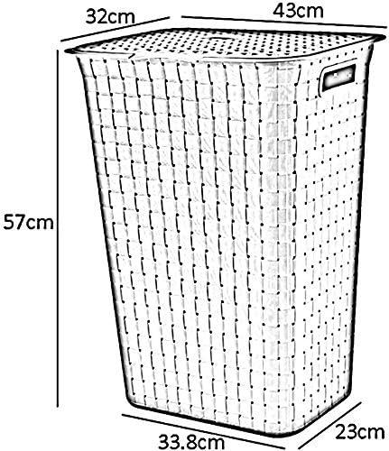 MWPO Paniers à Linge Portables avec Couvercle en Plastique avec Panier en Plastique Sale, Panier de Rangement d'articles ménagers, 43 * 32 * 57cm (Couleur: Noir) Khaki