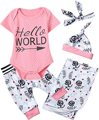 Dramiposs Newborn Baby Girl Newborn Hello World Outfit Polka Dot Floral Bodysuit Set with Blanket (Pink,0-3 Months)