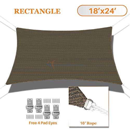 TANG Sunshades Depot 18 x24 Sun Shade Sail Rectangle Permeable Canopy Brown Coffee Custom Commercial Standard 180 GSM HDPE