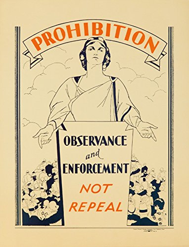 Prohibition Vintage Poster USA c. 1926 Collectible Art Print, Wall Decor Travel