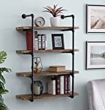 Cheap Homissue 4-Shelf Rustic Pipe Shelving Unit, Metal Decorative Accent Wall Book Shelf Home Office Organizer, Retro Brown