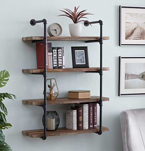 High Metal Wall Unit (Homissue 4-Shelf Rustic Pipe Shelving Unit, Metal Decorative Accent Wall Book Shelf for Home or Office Organizer, Retro Brown)