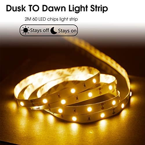 LOHAS Dusk to Dawn Light Sensor Strip Light, Stick on LED Light Strip 16.4 Ft, Brightness 12W(80W Equivalent), Soft White 3000K LED Lights, 800 Lumen for Bedroom Wall Decoration Table Kitchen