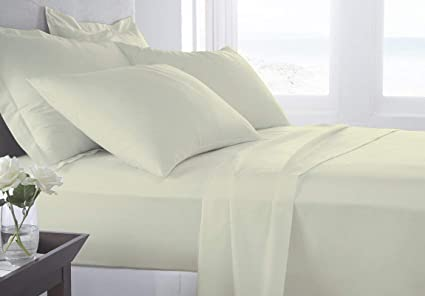bd3638db98e1 Blueberry Voyage Genuine Premium Egyptian Cotton 1000 Thread Count Italian  Finish Ivory 4-Piece Sheet Set, 15 inches Deep Pocket, Solid, Size Queen