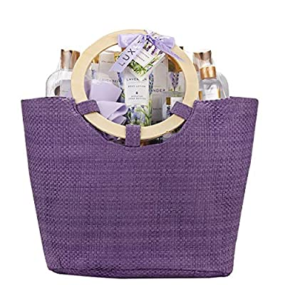 Spa Luxetique Lavender Spa Gift Baskets for Women, Premium 9pc Gift Baskets, Deluxe Spa Tote Bag with Wooden Handle, Bath Salt, Hand Soap, Hand Cream, Shower Gel and Moe! Best Holiday Gift Set.