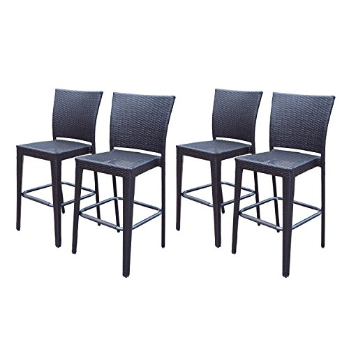 Oakland Living Ice Cooler Carts All Weather Elite Resin Wicker Bar Stools (Pack of 4), Coffee