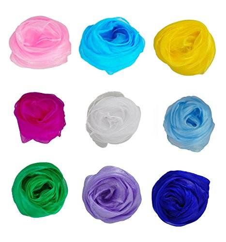 HERRICO Hemmed Square Juggling Dance Scarves Fashion Multicolor 9PCS B